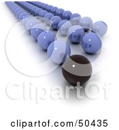 Royalty Free RF 3D Clipart Illustration Of A Black Marble Leading Rows Of Blue