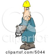 Man Wearing A Yellow Hardhat And Holding A Respirator Clipart