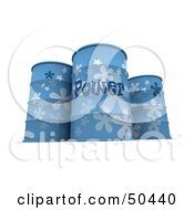 Royalty Free RF 3D Clipart Illustration Of Three Blue Power Barrels by Frank Boston