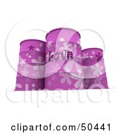 Royalty Free RF 3D Clipart Illustration Of Three Purple Love Barrels by Frank Boston