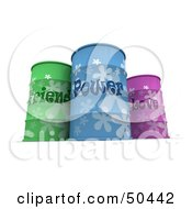 Royalty Free RF 3D Clipart Illustration Of Three Colorful Friend Power And Love Barrels