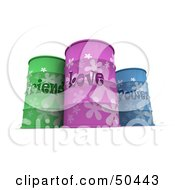 Royalty Free RF 3D Clipart Illustration Of Three Green Purple And Blue Emotion Barrels by Frank Boston