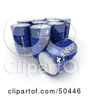 Royalty Free RF 3D Clipart Illustration Of Blue Solar Power Batteries