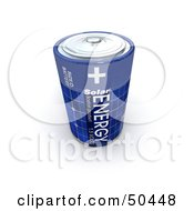 Royalty Free RF 3D Clipart Illustration Of A Single Blue Solar Power Battery