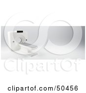 Royalty Free RF 3D Clipart Illustration Of A White Medical Scanner In A Hospital by Frank Boston