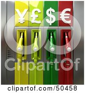 Royalty-Free (RF) 3D Clipart Illustration of Colorful Gas Pumps With Currency Symbols - Version 2 by Franck Boston