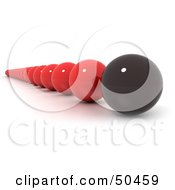 Royalty Free RF 3D Clipart Illustration Of A Line Of Red Marbles With A Leading Black One
