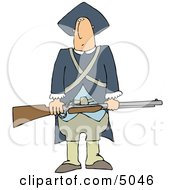 Revolutionary War Soldiers Holding A Loaded Rifle Clipart