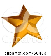 Royalty Free RF 3D Clipart Illustration Of A Thick Golden Star