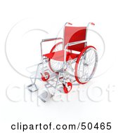 Royalty Free RF 3D Clipart Illustration Of A Red Empty Wheelchair by Frank Boston