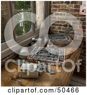 Royalty Free RF 3D Clipart Illustration Of A Historical Counter Work Space With Old Typesetting Letter Blocks