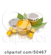 Royalty Free RF 3D Clipart Illustration Of Orange Beads And Conatiners Of Face Cream by Frank Boston