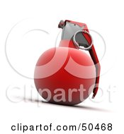 Royalty Free RF 3D Clipart Illustration Of A Red Hand Grenade