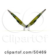 Clipart Illustration Of A Yellow 3d Butterfly Resting With Its Wings Open Facing Front