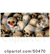 Royalty Free RF 3D Clipart Illustration Of A Pile Of Skulls One With A Red Nose