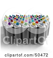 Royalty Free RF 3D Clipart Illustration Of A Group Of Aerosol Spray Paint Cans by Frank Boston