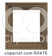 Royalty Free RF 3D Clipart Illustration Of A Wooden Picture Frame