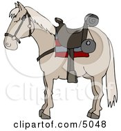 Riderless Horse Wearing Saddle Clipart by Dennis Cox