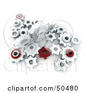 Royalty Free RF 3D Clipart Illustration Of A Crowd Of Red And White Cogwheels by Frank Boston #COLLC50480-0095