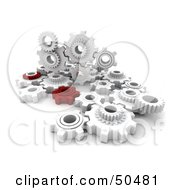 Group Of Red And White Cogwheels