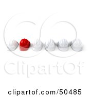 Royalty Free RF 3D Clipart Illustration Of A Red Hardhat In A Row Of White Helmets