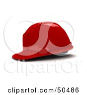 Royalty Free RF 3D Clipart Illustration Of A RedHard Hat Helmet