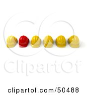 Royalty Free RF 3D Clipart Illustration Of A Red Hardhat In A Row Of Yellow Helmets