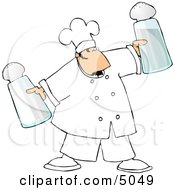 Male Chef Holding Oversized Salt And Pepper Shakers Clipart