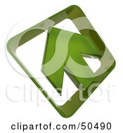 Royalty Free RF 3D Clipart Illustration Of A Green Arrow Pointing Up And Left by Frank Boston