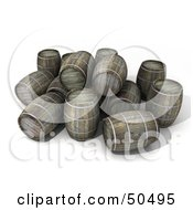 Royalty Free RF 3D Clipart Illustration Of A Messy Stack Of Wine Or Whiskey Barrels