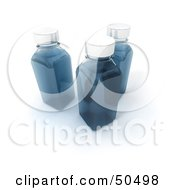 Clipart Illustration Of Three 3d Glass Bottles Filled With Blue Liquid