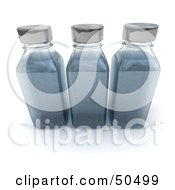 Clipart Illustration Of Three 3d Glass Bottles In A Row Filled With Blue Liquid