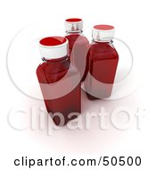 Clipart Illustration Of Three 3d Glass Bottles Filled With Red Liquid