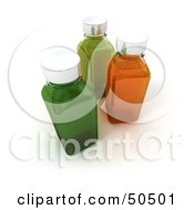Clipart Illustration Of Three 3d Glass Bottles Filled With Green And Orange Liquid