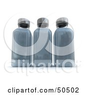 Clipart Illustration Of Three 3d Glass Bottles In A Row Filled With Gray Liquid