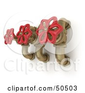 Royalty Free RF 3D Clipart Illustration Of Three Golden Faucets With Red Handles by Frank Boston