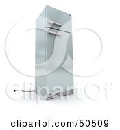 Royalty Free RF 3D Clipart Illustration Of A Stainless Steel Refrigerator