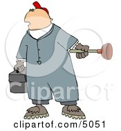 Plumber Man Holding A Toolbox And Toilet Plunger Clipart by Dennis Cox