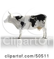 Royalty Free RF 3D Clipart Illustration Of A Black And White Mapped Dairy Cow by Frank Boston
