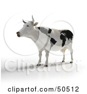 Royalty Free RF 3D Clipart Illustration Of A Dairy Cow With Black Continent Fur Patterns by Frank Boston