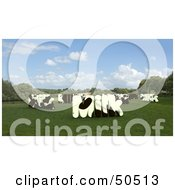 Royalty Free RF 3D Clipart Illustration Of MILK Shaped Dairy Cows In A Pasture