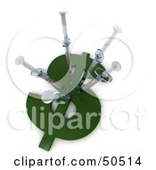 Royalty Free RF 3D Clipart Illustration Of Medical Syringes In A Dollar Symbol Version 1