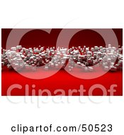 Royalty Free RF 3D Clipart Illustration Of A Red Background With Floating White Cubic Particles