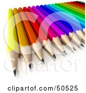 Royalty Free RF 3D Clipart Illustration Of A Colorful Array Of Sharp Pencils by Frank Boston