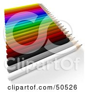 Royalty Free RF 3D Clipart Illustration Of A Row Of A Colorful Array Of Pencils by Frank Boston