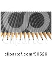 Royalty Free RF 3D Clipart Illustration Of A Row Of Black Sharpened Pencils by Frank Boston