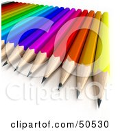 Royalty Free RF 3D Clipart Illustration Of A Colorful Pencil Array by Frank Boston