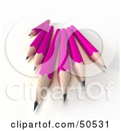 Royalty Free RF 3D Clipart Illustration Of A Group Of Sharp Pink Pencils by Frank Boston