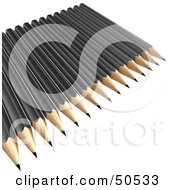 Royalty Free RF 3D Clipart Illustration Of Sharpened Black Pencils On A Surface by Frank Boston