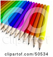 Royalty Free RF 3D Clipart Illustration Of An Array Of Colorful Pencils by Frank Boston